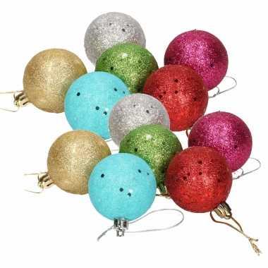 12x gekleurde glitter kerstballen van piepschuim 5 cm