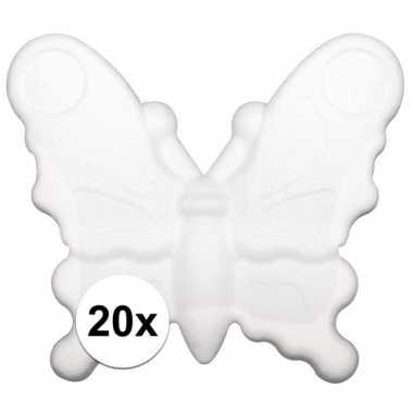 20x stuks piepschuim vlinders van 12,5 cm