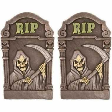 2x decoratie halloween grafstenen magere hein 60 cm