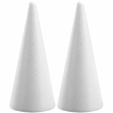 2x hobby/diy piepschuim kegels vormen 21 cm