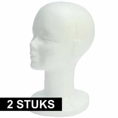 2x piepschuim hoofden 30 cm