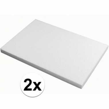 2x piepschuim knutsel platen van 20 x 30 x 2 cm