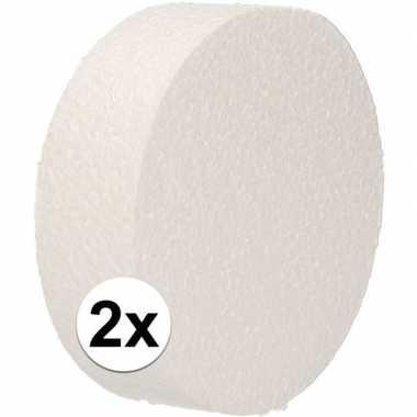 2x piepschuim schijven 10 cm breed en 3 cm dik