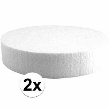 2x piepschuim schijven 20 cm breed en 4 cm dik