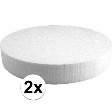 2x piepschuim schijven 25 cm breed en 4 cm dik