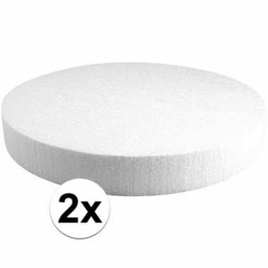 2x piepschuim schijven 30 cm breed en 4 cm dik