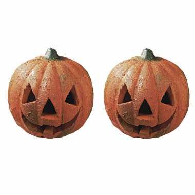 2x stuks piepschuim pompoenen diy halloween decoratie 16 cm