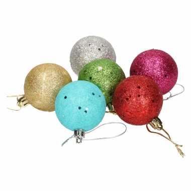 36x gekleurde glitter kerstballen van piepschuim 5 cm