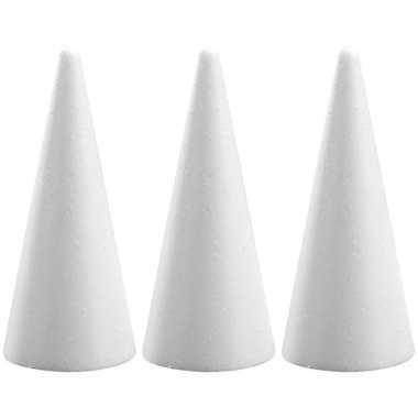 3x hobby/diy piepschuim kegels vormen 21 cm