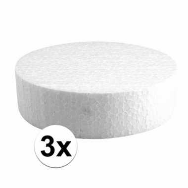 3x knutsel piepschuim schijven 15 cm