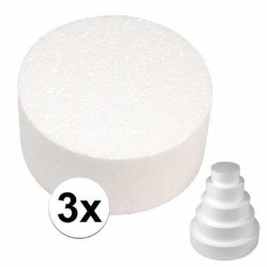 3x piepschuim schijven 15 cm breed en 7 cm dik