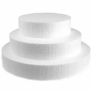 3x piepschuim schijven van 20/25/30 cm breed en 4 cm dik