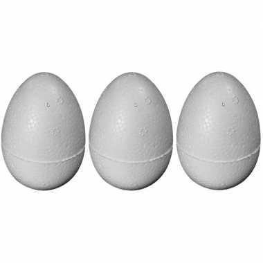 3x stuks piepschuim vormen eieren van 8 cm