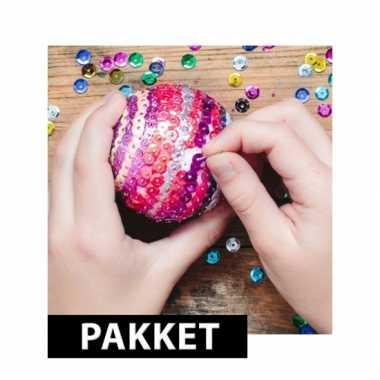 5x kerstballen diy pakket 7 cm