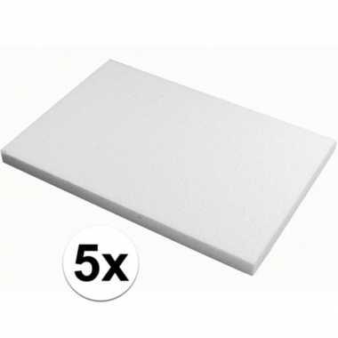 5x piepschuim knutsel platen van 20 x 30 x 2 cm