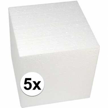 5x piepschuim kubussen 20 cm