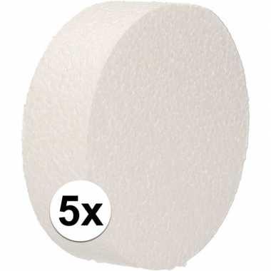 5x piepschuim schijven 10 cm breed en 3 cm dik