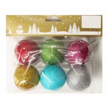 6x gekleurde glitter kerstballen van piepschuim 5 cm