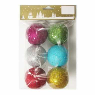 6x gekleurde glitter kerstballen van piepschuim 6 cm