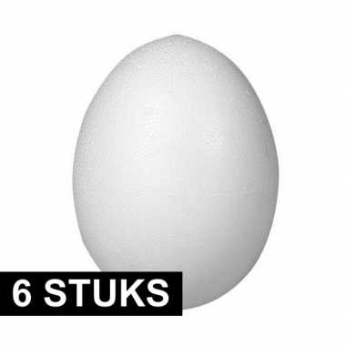 6x piepschuim figuren eieren van 12 cm