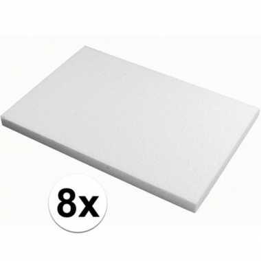 8x piepschuim knutsel platen van 20 x 30 x 2 cm
