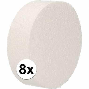 8x piepschuim schijven 10 cm breed en 3 cm dik