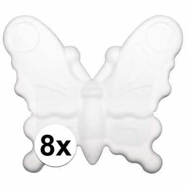 8x stuks piepschuim vlinders van 12,5 cm