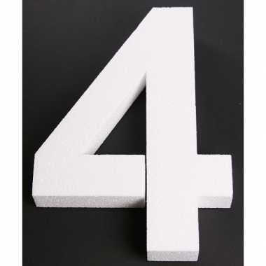 Cijfer 4 wit piepschuim