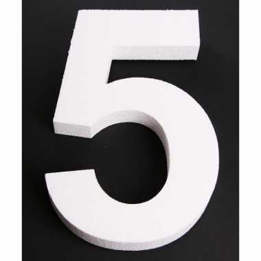 Cijfer 5 wit piepschuim