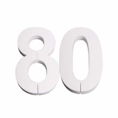 Cijfer 80 wit piepschuim