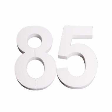Cijfer 85 wit piepschuim