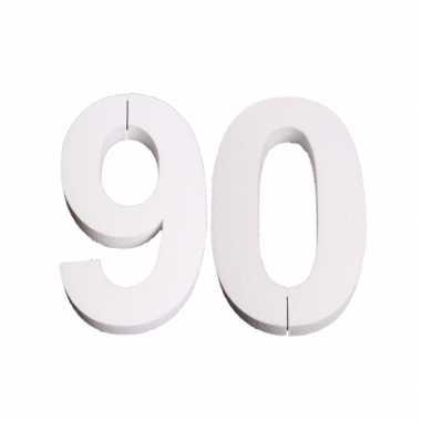 Cijfer 90 wit piepschuim