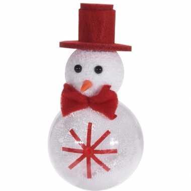Kerstversiering/boomversiering hanger kerstbal sneeuwpop 12 cm