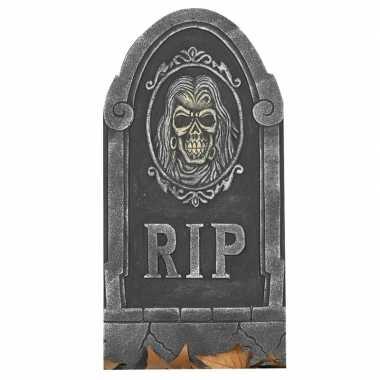 Rip kerkhof grafsteen met schedel 65 cm halloween decoratie