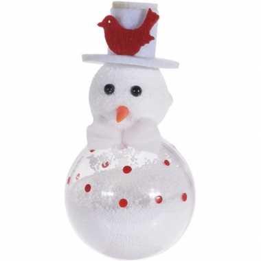 Witte sneeuwpop kerstversiering hangdecoratie 12 cm met vogel