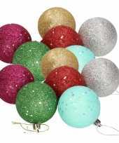 12x gekleurde glitter kerstballen van piepschuim 6 cm