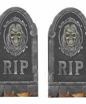 2x rip kerkhof grafstenen met schedel 65 cm halloween decoratie